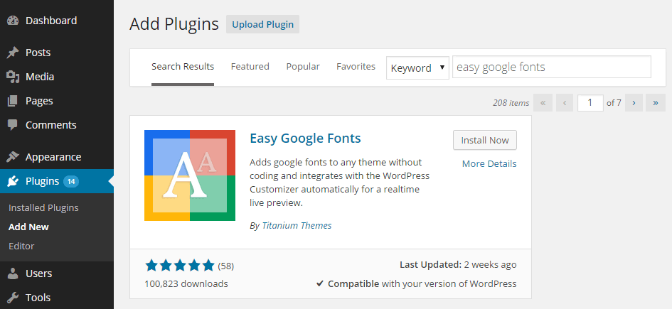 Easy Google Fonts Install Plugin