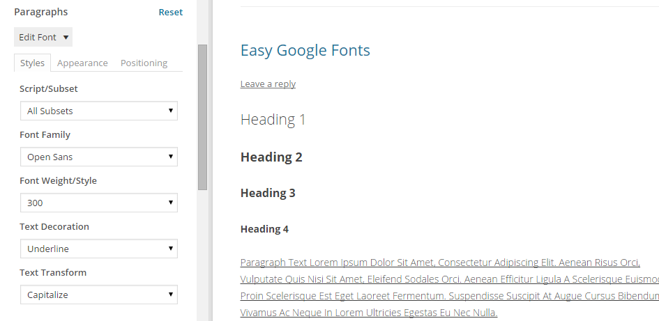 Easy Google Fonts Using the Customizer 02