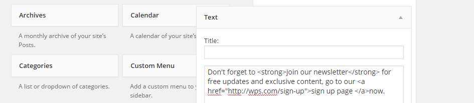 Standard Text Widget