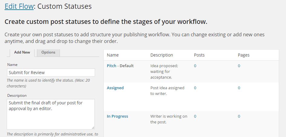 Edit Flow Custom Status