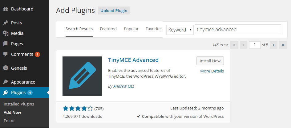 How to Install the TinyMCE Advanced Plugin