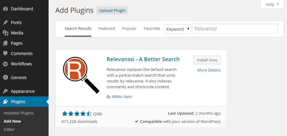 Add the Relevanssi Plugin