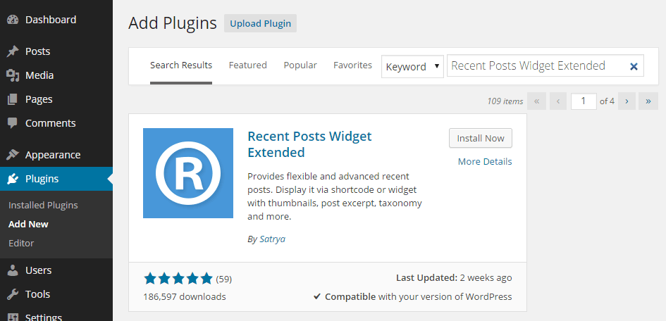 Add Recent Posts Widget Extended