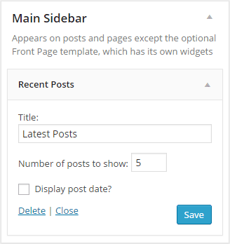 Default Recent Posts Widget