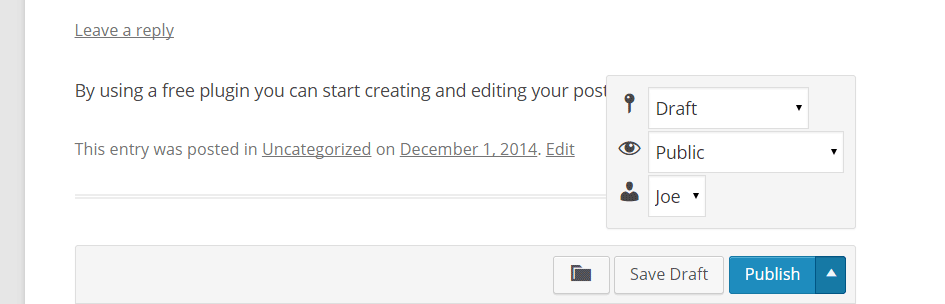 Front-end Editing Publish Post