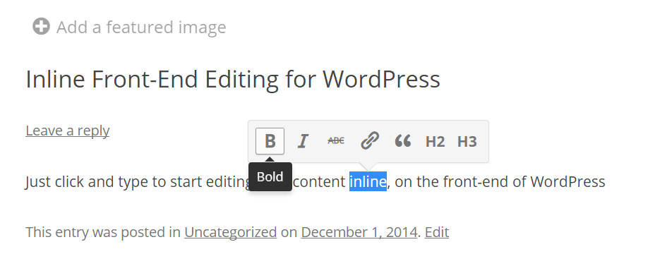 Front-end Editor Plugin for WordPress
