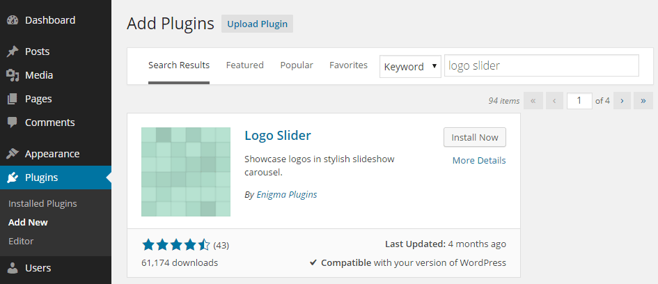 Add the Logo Slider Plugin