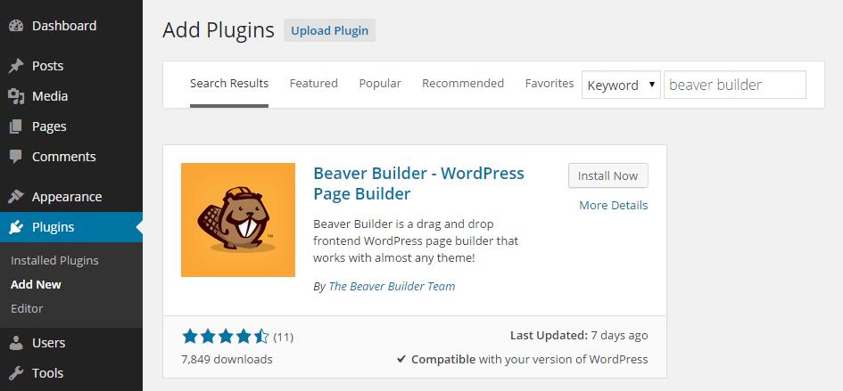 Add Beaver Builder Plugin