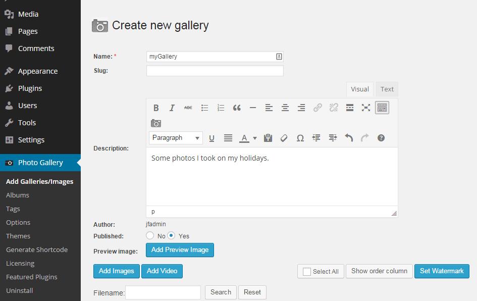 Add New Gallery
