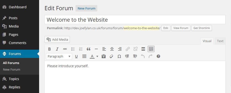 Create New bbPress Forum