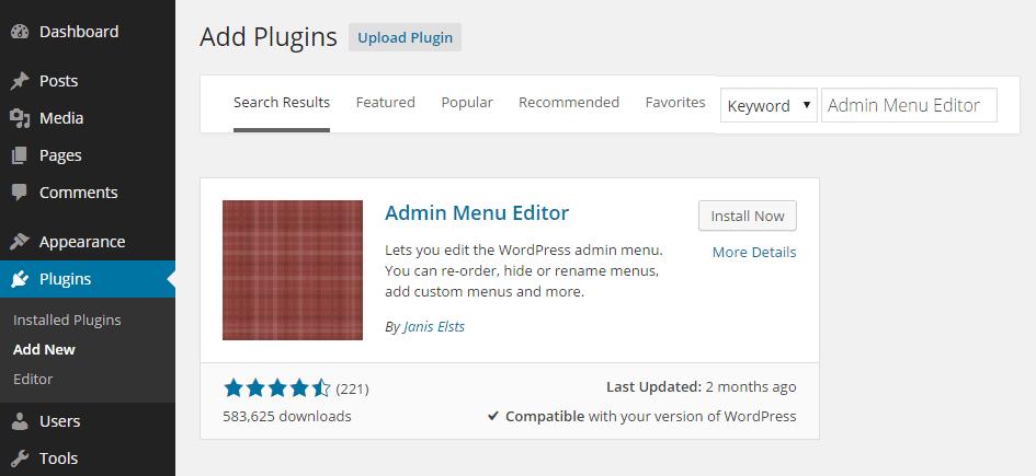 Admin Menu Editor Add Plugin