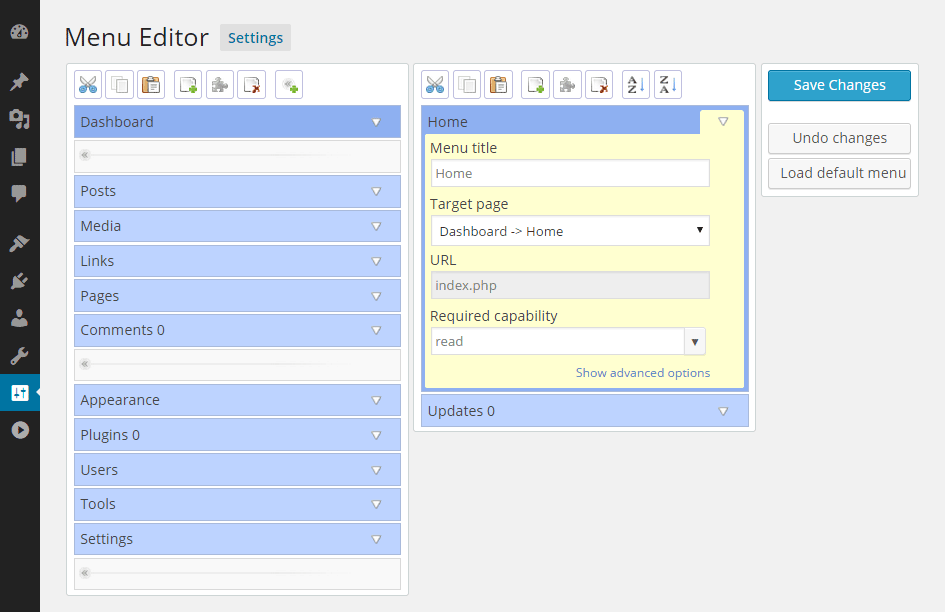 Admin Menu Editor Screen