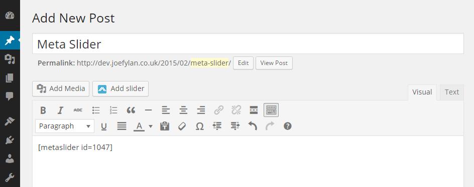 Meta Slider Shortcode