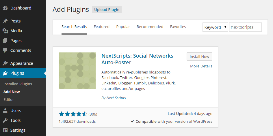 Add NextScripts Plugin