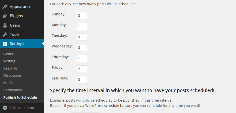 Publish to Schedule Settings Days