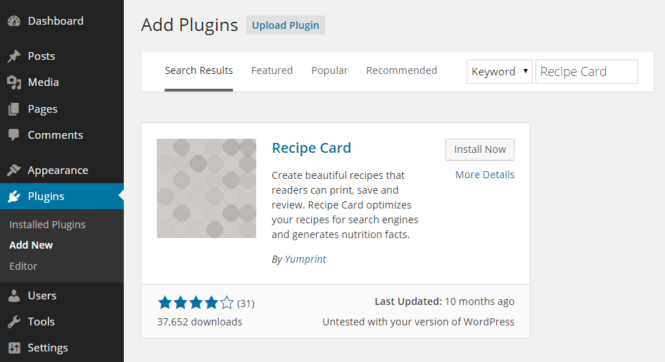 Recipe Card Add Plugin