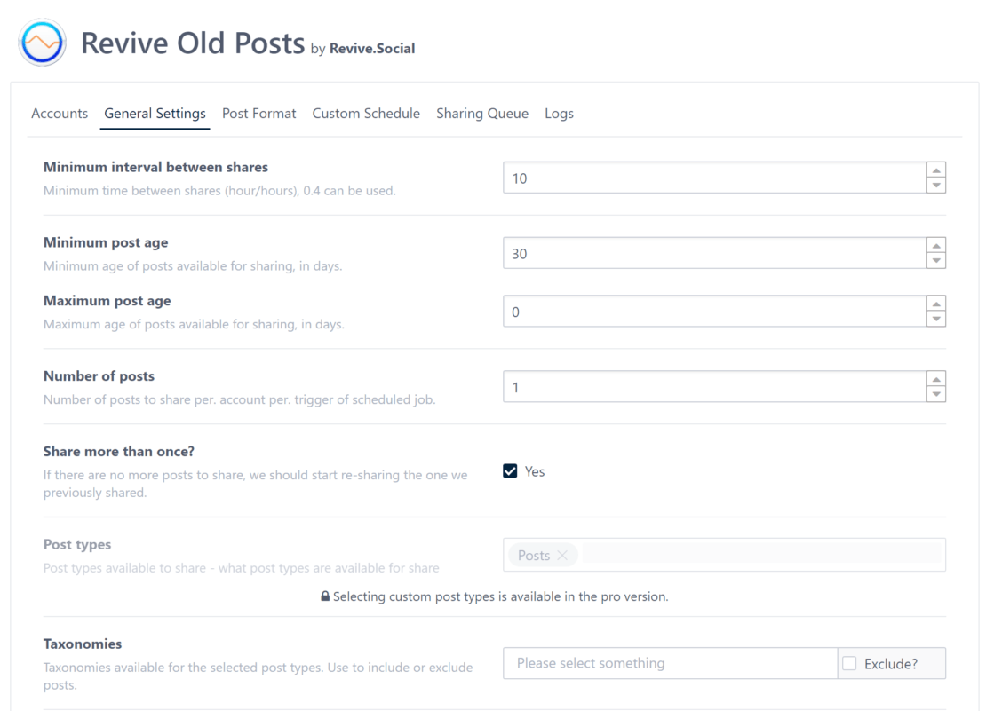 Revive Old Posts Settings