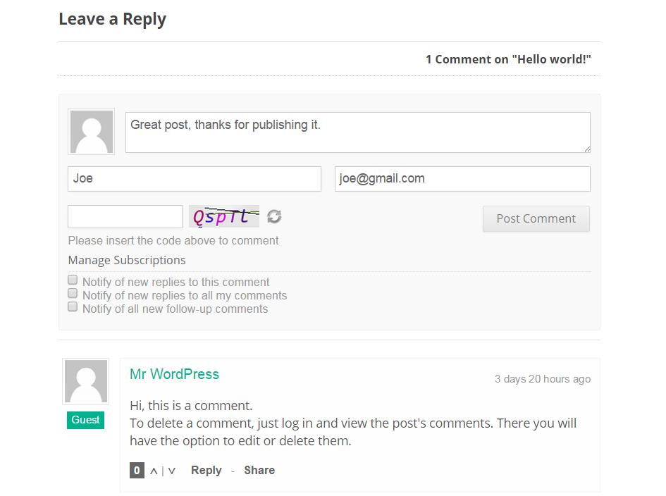 wpDiscuz New Comment Form