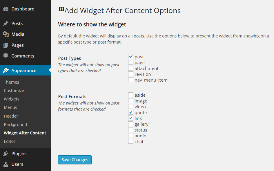Add Widget After Content Settings