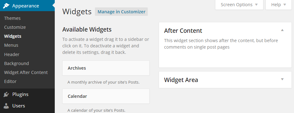 Add Widget After Content Widgets