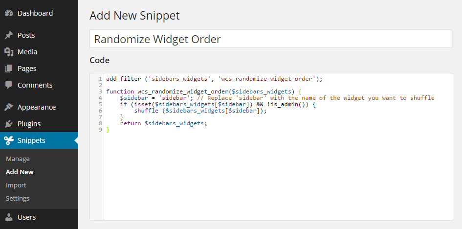 Add New Code Snippet