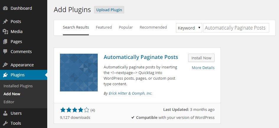 Add Pagination Plugin