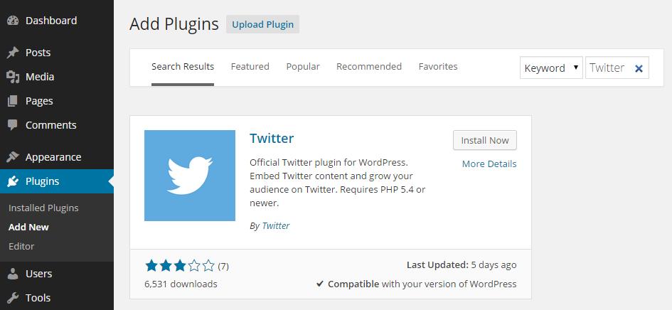 Twitter Official Add Plugin