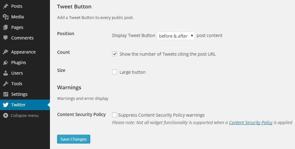 Twitter Official Settings