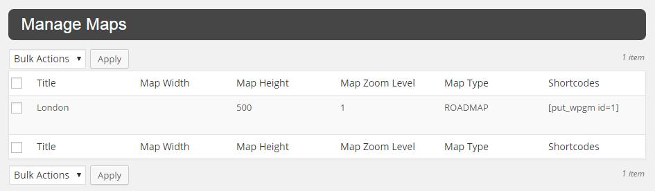 WP Google Map Plugin Manage Maps