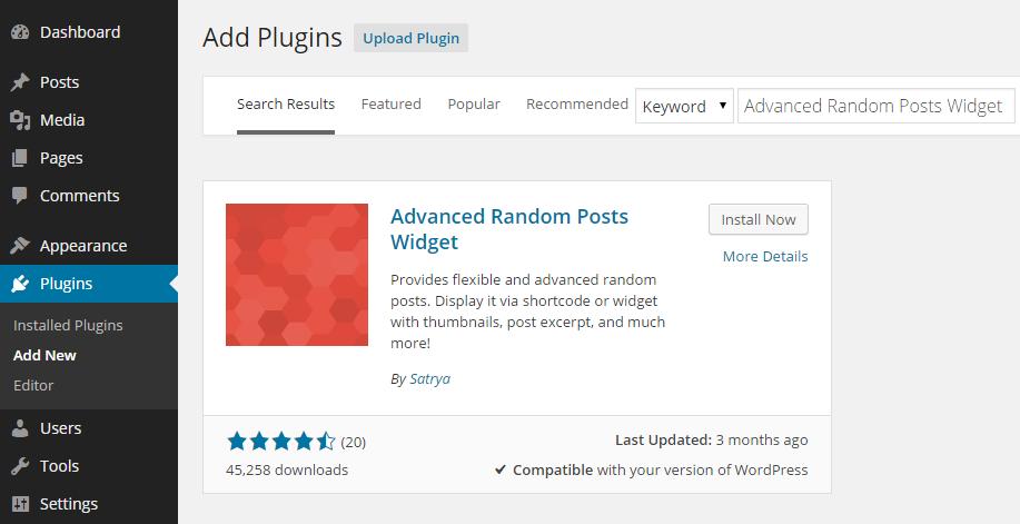 Advanced Random Posts Widget Add Plugin