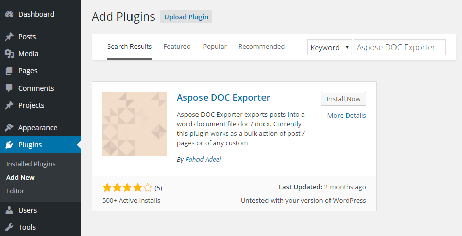 Aspose DOC Exporter Add Plugin