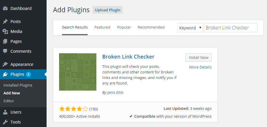 Broken Link Checker Add Plugin