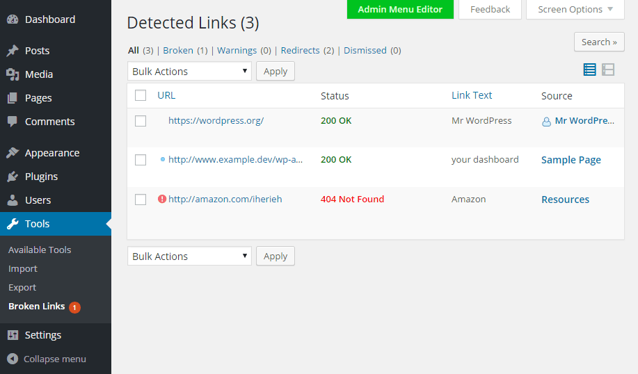 Broken Link Checker View Links