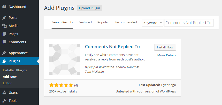 Comments Not Replied To Add Plugin