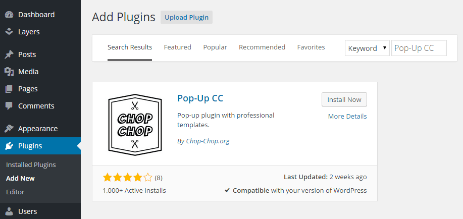 PopUp CC Add Plugin