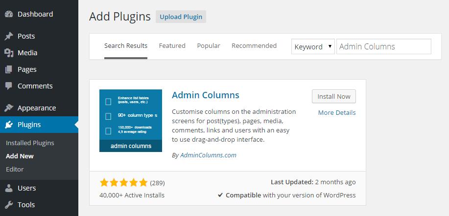 Admin Columns Add Plugin