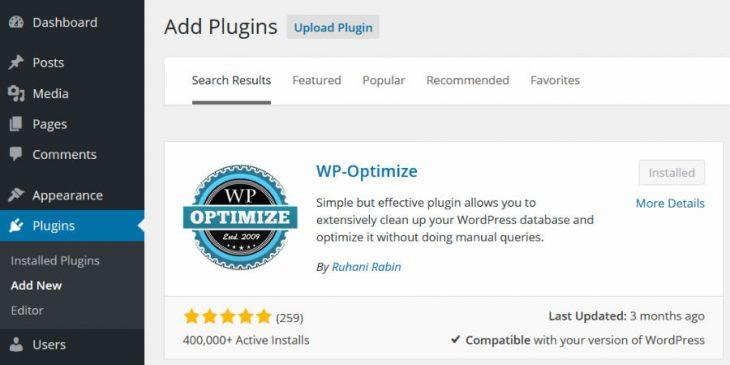 Install WP-Optimize