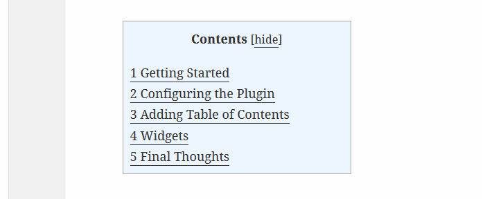 Table of Contents screenshot