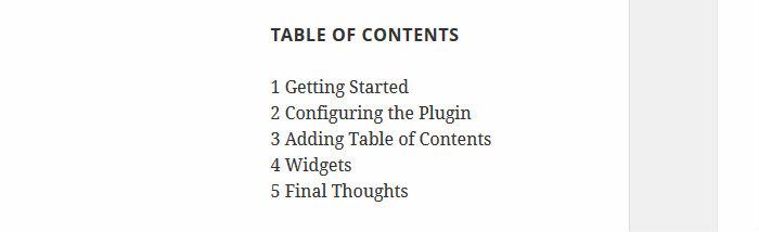 Table of Contents widget