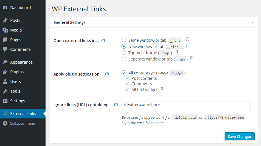 WP External Links Settings
