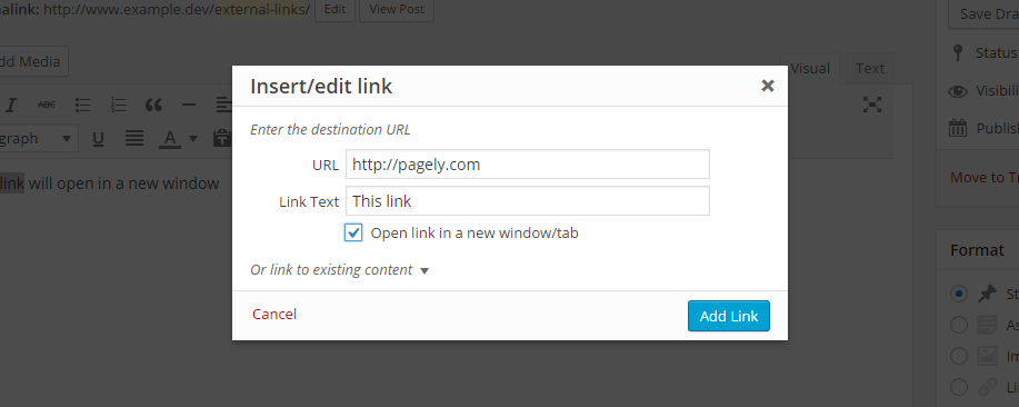 WP Links Link Settings