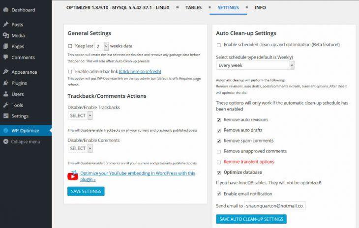 WP-Optimize Configuration