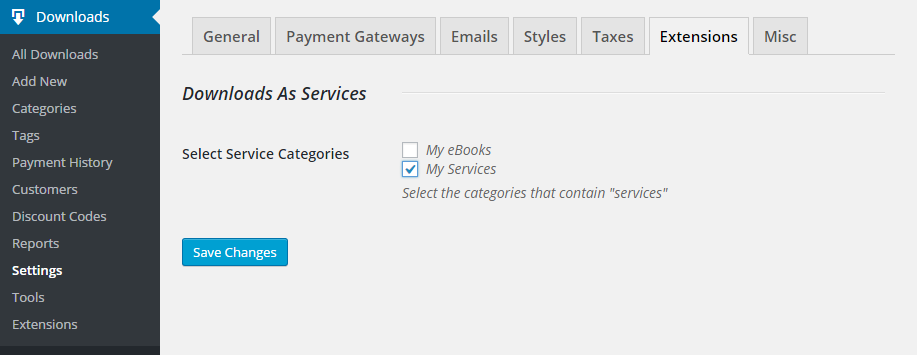 EDD Downloads As Services Categories