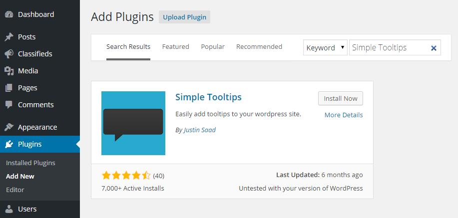 Simple Tooltips Add Plugin