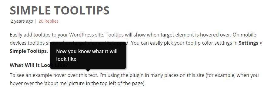 Simple Tooltips WordPress Plugin