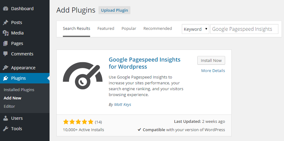 Google Pagespeed Insights for WordPress Add Plugin