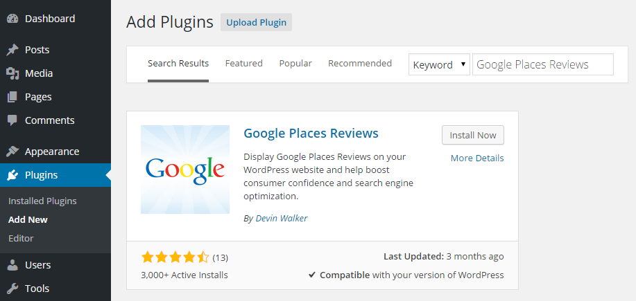 Google Places Reviews Add Plugin