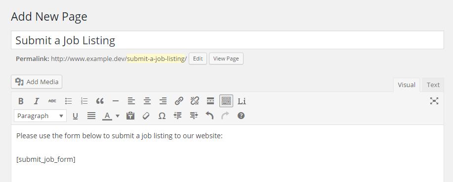 WP Job Manager Shortcode