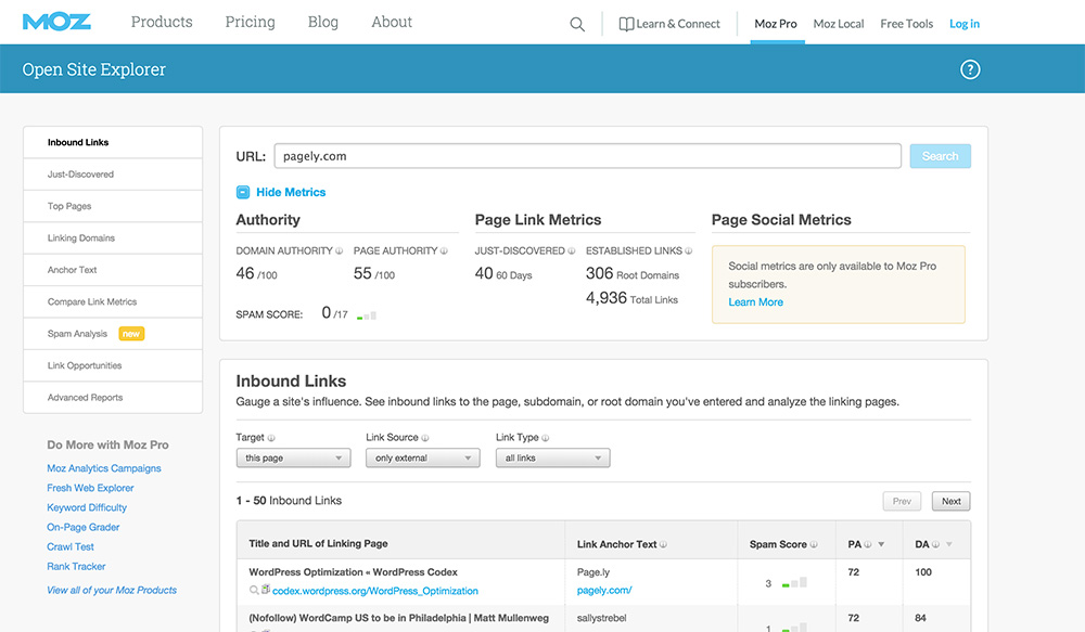 Opensite Explorer Link Analysis