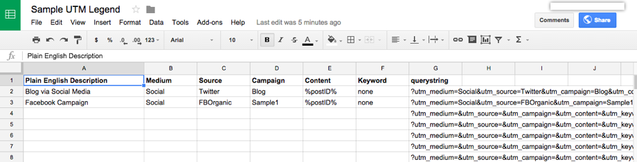 UTM spreadsheet tracking